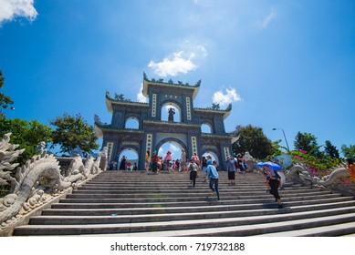 Da Nang, Vietnam - August 7, 2016: Tourist visit Linh Ung pagoda in Da Nang, Vietnam.