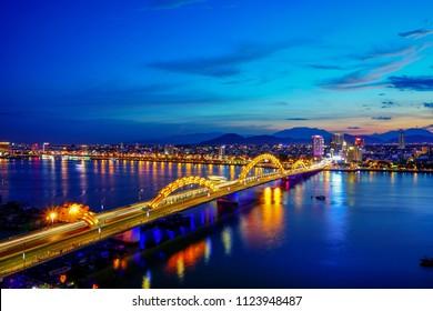 Da Nang, Vietnam: The beauty of Da Nang city at sunset.