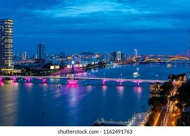 Da Nang, Vietnam - Business and Administrative District of Da Nang city on the Han riverbank, with Song Han and Rong Bridge. Picture taken on Jun 24, 2018
