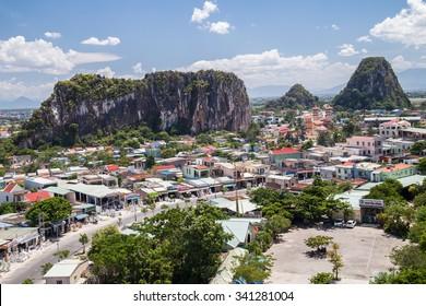 DA NANG, VIETNAM - CIRCA AUGUST 2015: Moc Son, Hui Son, Kim Son mountains, Marble mountains, Vietnam