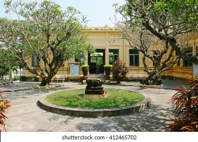 DA NANG, VIETNAM - CIRCA FEBRUARY 2016: The courtyard of Museum of Cham Sculpture, which houses the largest collection of Cham sculptures in the world.