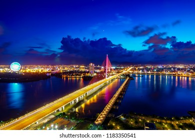 Da Nang, Vietnam: The colorful Tran Thi Ly bridge at twilight.