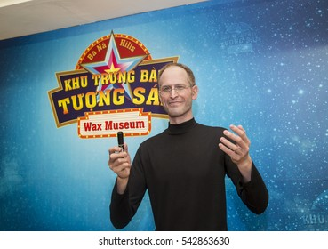 Da Nang, Vietnam - Dec 17, 2016: Steve Jobs wax statue on display at Ba Na Hills mountain resort. He was the co-founder, chairman, and chief executive officer of Apple Inc.