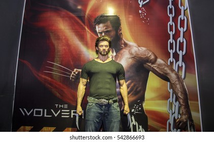 Da Nang, Vietnam - Dec 17, 2016: Wolverine by Hugh Jackman wax statue on display at Ba Na Hills. Wolverine is a fictional character in comic books by Marvel Comics, commonly associated with the X-Men.