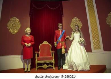 Da Nang, Vietnam - Dec 17, 2016: Queen Elizabeth and British Royal Family wax statue on display at Ba Na Hills mountain resort.