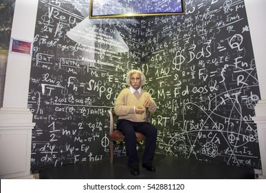 Da Nang, Vietnam - Dec 17, 2016: Albert Einstein wax statue on display at Ba Na Hills mountain resort. Einstein developed the general theory of relativity, one of the two pillars of modern physics.