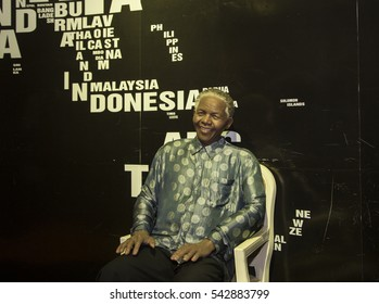 Da Nang, Vietnam - Dec 17, 2016: Nelson Mandela wax statue on display at Ba Na Hills mountain resort. Mandela was a South African anti-apartheid revolutionary, politician, and philanthropist.
