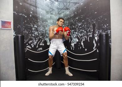 Da Nang, Vietnam - Dec 17, 2016: Boxer Muhammad Ali wax statue on display at Ba Na Hills mountain resort, Vietnam.