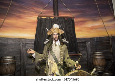 Da Nang, Vietnam - Dec 17, 2016:  Johnny Depp as Jack Sparrow, Pirates of the Caribbean wax statue on display at Ba Na Hills mountain resort, Vietnam.