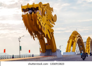 Da Nang, Vietnam - December 11, 2014: Attractions Dragon bridge electricity, designed and built in the shape of a dragon in Da Nang, Han river in Vietnam.