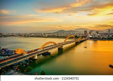 Da Nang, Vietnam: Dragon bridge at sunset.