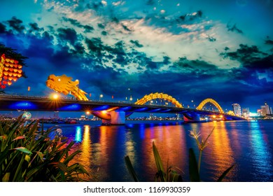 Da Nang, Vietnam: Dragon bridge at sunset which is considered as the icon of Da Nang city.