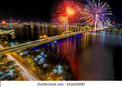 Da Nang, Vietnam: Dragon bridge with the fireworks show.