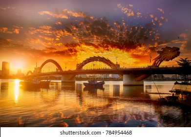 Da Nang, Vietnam: The dragon bridge at sunset.