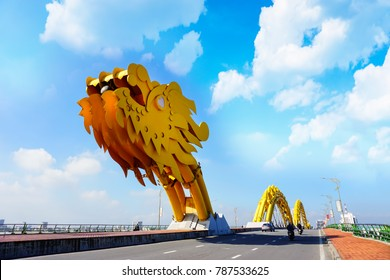 Da Nang, Vietnam: Dragon bridge on a beautiful cloudy day.