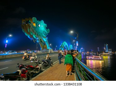 Da Nang, Vietnam - February 26, 2019: Night view of Dragon Bridge in Da Nang, Vietnam. Da Nang is one of Vietnam most important port cities.
