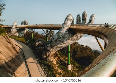 Da Nang, Vietnam - February 26, 2019: The Golden Bridge in the Ba Na Hills, supported by a pair of giant hands.Da nang ,Vietnam