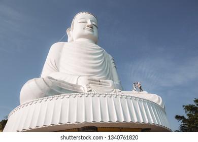 Da Nang, Vietnam - February 26, 2019 : Colossal sitting Buddha statue at Ba Na Hills near Da Nang, Vietnam