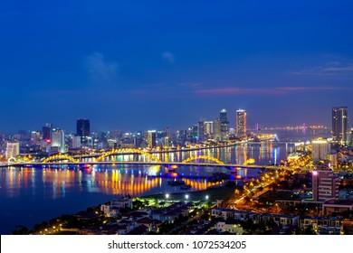 Da Nang, Vietnam: Full view of Da Nang city at sunset.