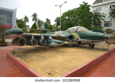 DA NANG, VIETNAM - JANUARY 06, 201: Cessna A-37 Dragonfly - the american trophy attack plane in the museum of the 5th militarized zone