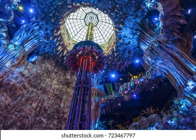 DA NANG, VIETNAM - JUL 16, 2017 - Tower Drop game at Ba Na Hills Fantasy Park, from bottom to top, this ride is 29 metres high