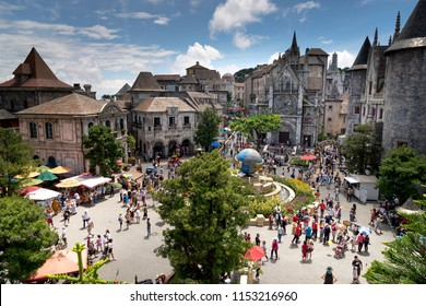 Da Nang, Vietnam - July 5, 2018: European street festival in Ba Na Hills Mountain Resort, the multi-level complex filled with amusement rides, attractions, restaurants...on Ba Na Hill in Da Nang City,