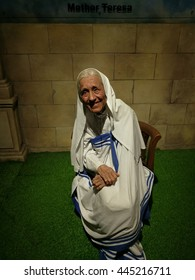 Da Nang, Vietnam - Jun 20, 2016: Mother Teresa wax statue on display at Ba Na Hills mountain resort. Mother Teresa also known as Blessed Teresa of Calcutta, was a Roman Catholic nun and missionary.