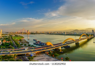 Da Nang, Vietnam - jun 30th 2018: Dragon bridge which is one of many icon of Da Nang city.