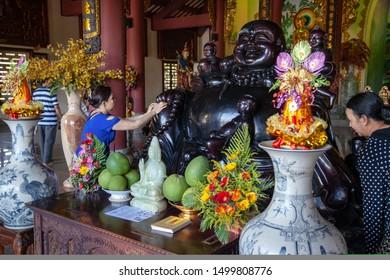 Da Nang, Vietnam - June 27, 2019: Vietnamese Buddhists pray to the Goddess of Mercy, The Lady Buddha Statue the Bodhisattva of Mercy at the Linh Ung Pagoda in Da Nang Vietnam.