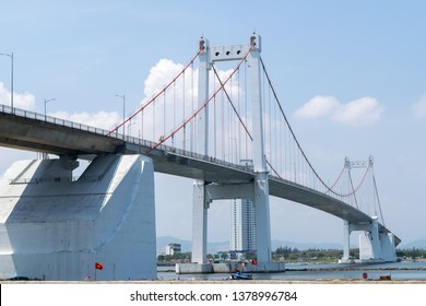 Da Nang, Vietnam - Mar. 27, 2019 : Thuan Phuoc Bridge is the largest suspension bridge in Vietnam, and connects Da Nang's city center with the urban district of Son Tra and a total length of 1,850 m