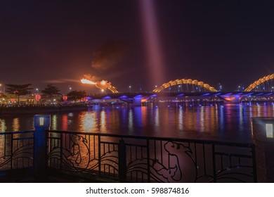 DA NANG, VIETNAM - March 12, 2017. Dragon River Bridge over Han River, Cau Rong ( Rong Bridge) in Da Nang, Vietnam