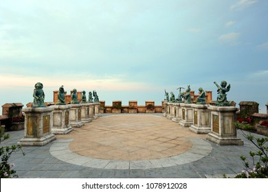 Da Nang, Vietnam - March 18, 2018: Statue of zodiac at Mercure Danang French Village Bana Hills