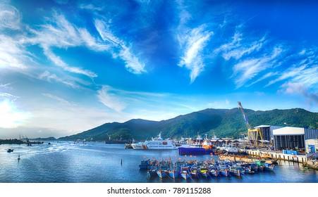 Da Nang, Vietnam - march 21th 2015: panorama view of Da Nang bay