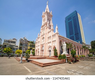 Da Nang, Vietnam - May 21, 2018: Da Nang Cathedral. It's official name is Basilica of the Sacred Heart of Jesus. This is the only church built in Danang city in the French colonial period.