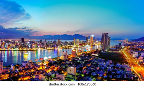 Da Nang, Vietnam - may 8th 2018: View of Da Nang city from above.