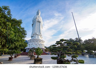 Da Nang, Vietnam - Oct 21st 2018: Majestic view of the  Linh Ung Pagoda, Danang (Da Nang), Vietnam which is one of the most attractive destination for tourists when come in Da Nang