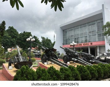 DA NANG, VIETNAM - OCTOBER 2017: The facade of the Zone 5 Military Museum. It covers all Vietnamese resistance to foreign occupation from China, France and the USA and the current standoff with China