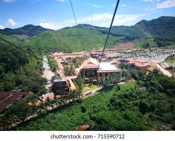 Da Nang, Vietnam - Sep 5, 2017: Tourists on cable cars visiting Ba Na Hills mountain resort, Da Nang, Vietnam.