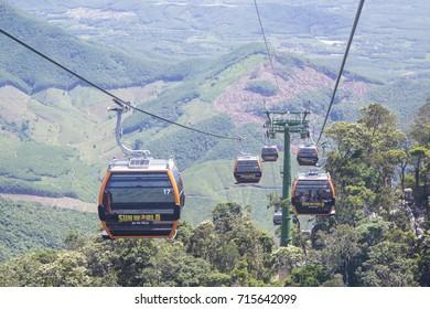 Da Nang, Vietnam - Sep 5, 2017: Tourists on cable cars visiting Ba Na Hills mountain resort, Da Nang, Vietnam.