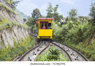Da Nang, Vietnam - Sep 5, 2017: Tourists on electric train visiting Ba Na Hills mountain resort, Da Nang, Vietnam.
