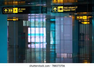 DA NANG, VIETNAM - SEPTEMBER 1, 2017: Beautiful interiors of Da Nang International Airport.