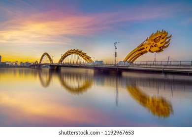 Da Nang, Vietnam - September 29th 2018: View of Dragon bridge which is well known as a symbol of Da Nang city.