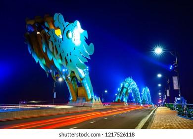 DA NANG, VIETNAM - SEPTEMBER 30: The Dragon Bridge (Cau Rong) with blue-colored illumination at night on September 30, 2018 in Da Nang, Vietnam.