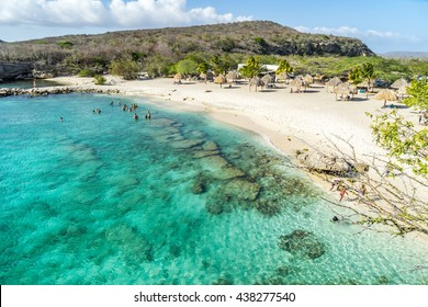 Daaibooi beach and the historic ruins above it -  Curacao views a small Caribbean Island in the Dutch Antilles