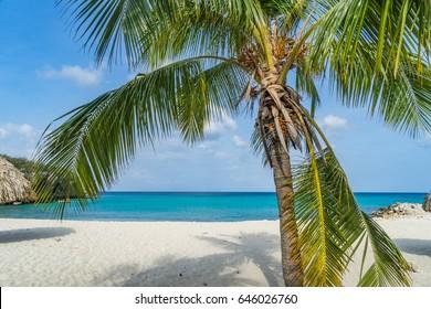 Daaibooi beach views around the Caribbean island of Curacao