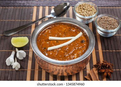 """""""Daal Makhani"""", a preparation of Beans in Punjabi Style. Arranged with ingredient spices"""