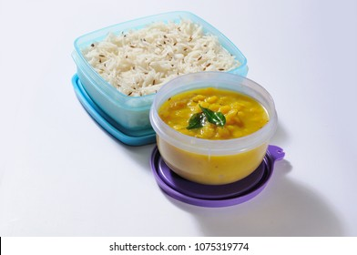 Daal rice in air tight lunch box