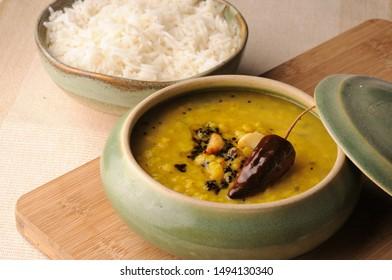 Daal tadka (yellow daal or Toor daal} with Basmati ruce - Shutterstock ID 1494130340