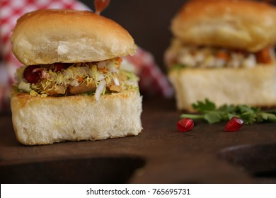 Dabeli also known as Indian Burger. Food preparation and decorations.