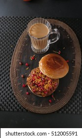Dabeli sandwich/ Indian street food sandwich stuffed with spicy potato mash